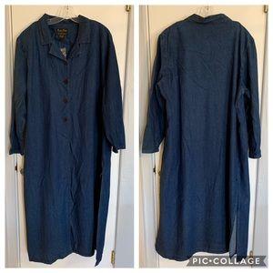 Vintage 90s Long Cotton Jean-like Jacket